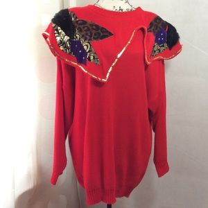 80s Vintage Red Bold Mix Media Sweater Dress Tunic